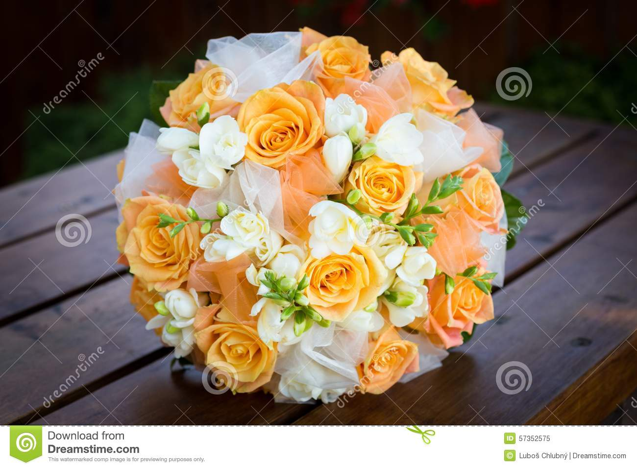 Bridal Bouquet With Orange And White Flowers Stock Image - Image of ...