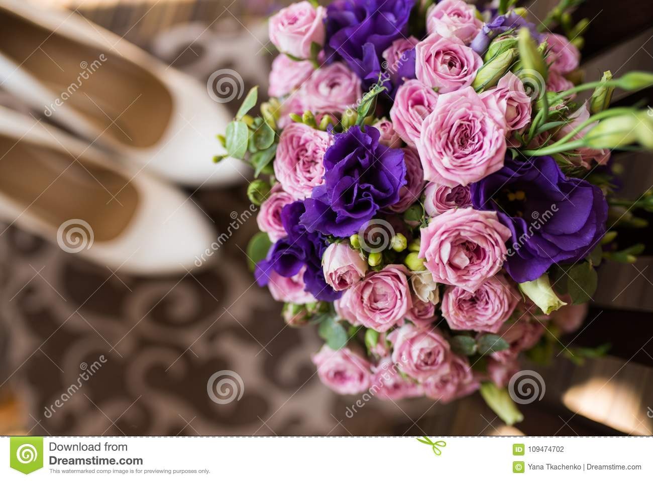 Bridal Bouquet With Pink And Purple Flowers Wedding Preparation