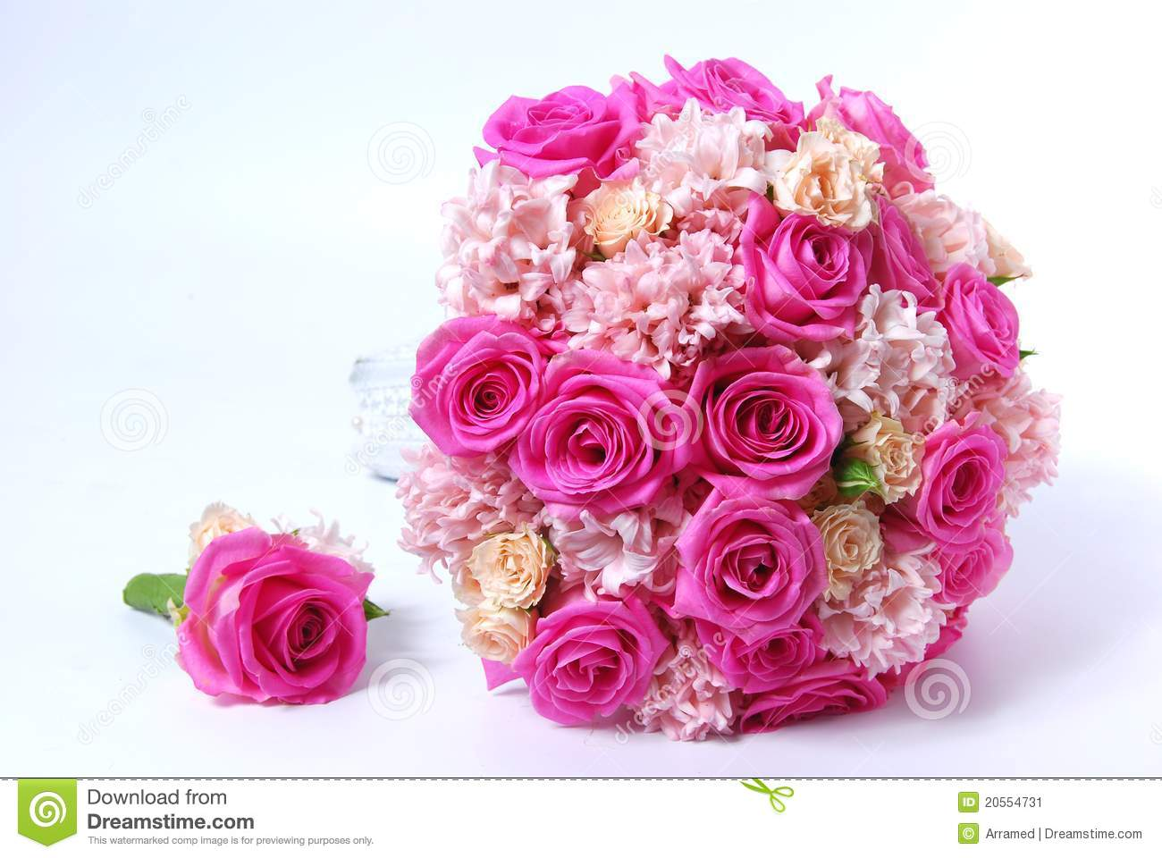 Bridal Bouquet With Pink Roses Stock Image - Image of pink, love ...