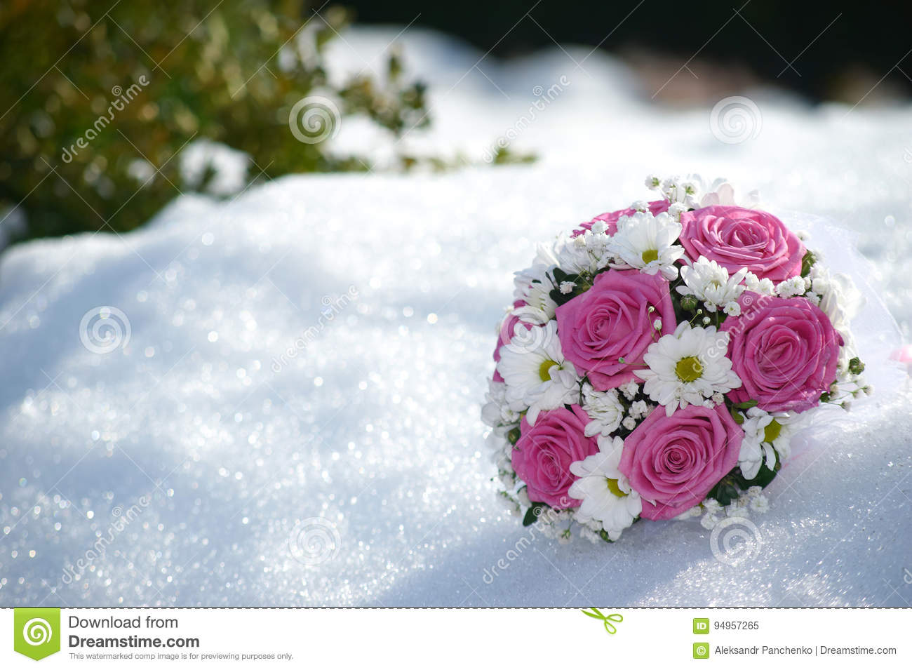 Bridal Bouquet Of Pink Roses And White Daisies Flowers In The Sn