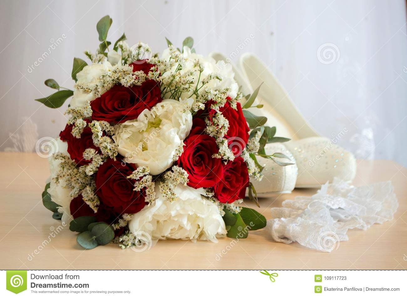 bridal bouquet with red and white roses stock image image of bride