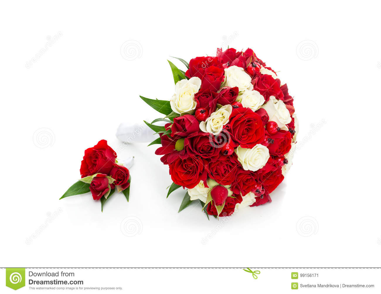 bridal bouquet with red and white roses stock image image of