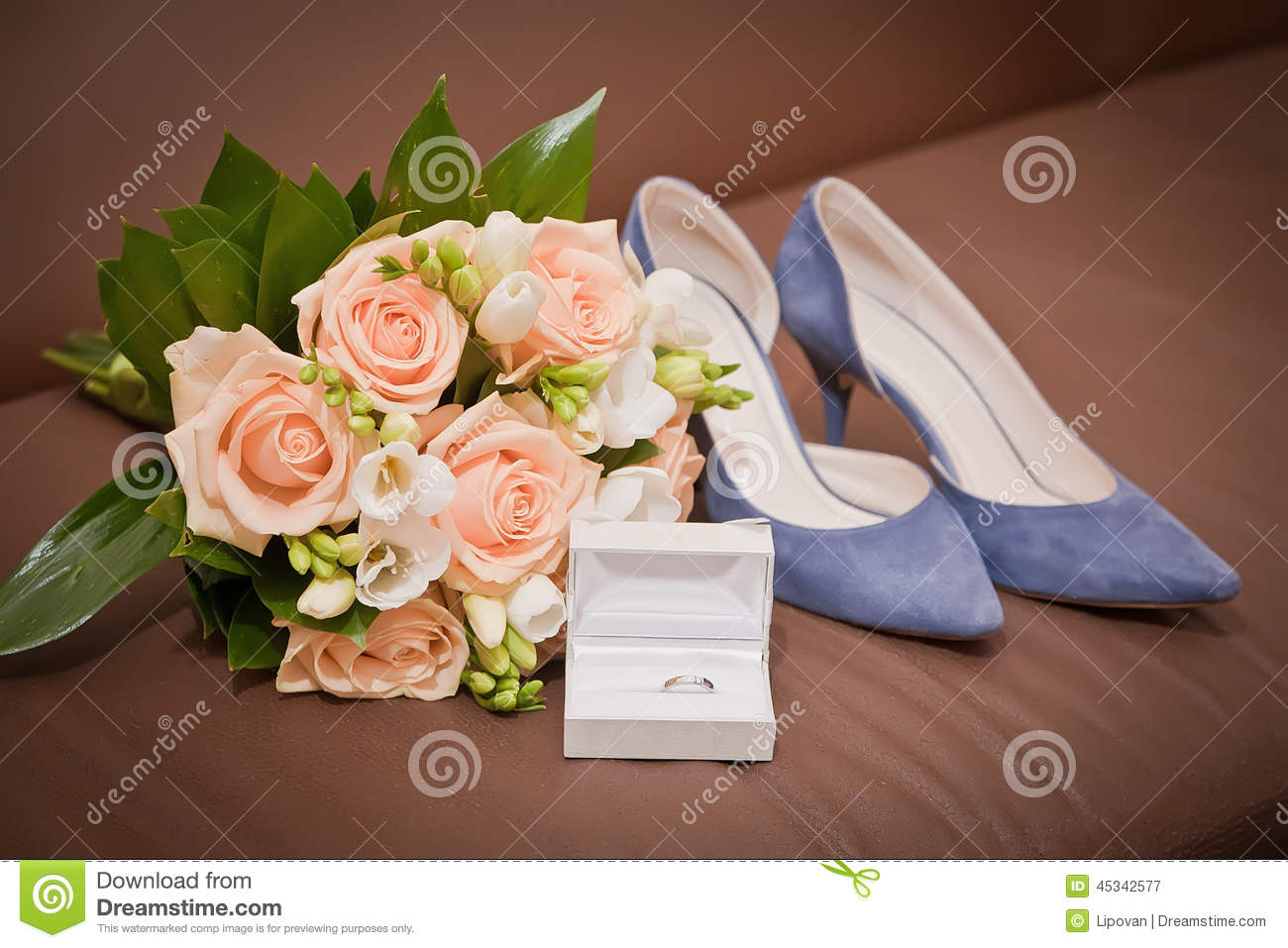 Bridal Bouquet Shoes Wedding Ring In A Box Stock Image Image