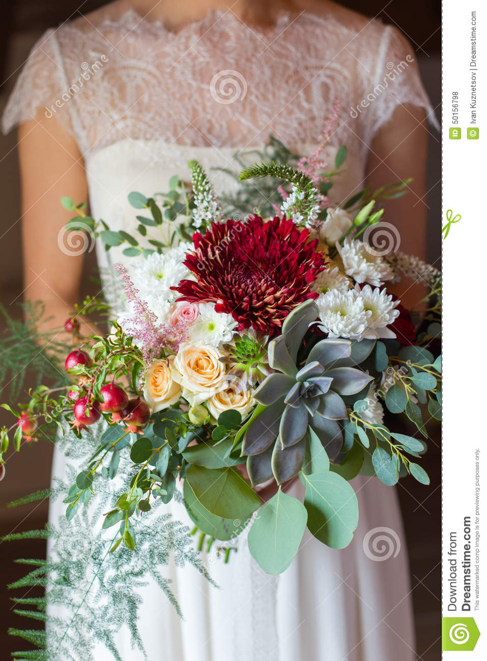 Bridal Bouquet With Succulent Stock Photo Image Of Marriage Pomegranate 50156798
