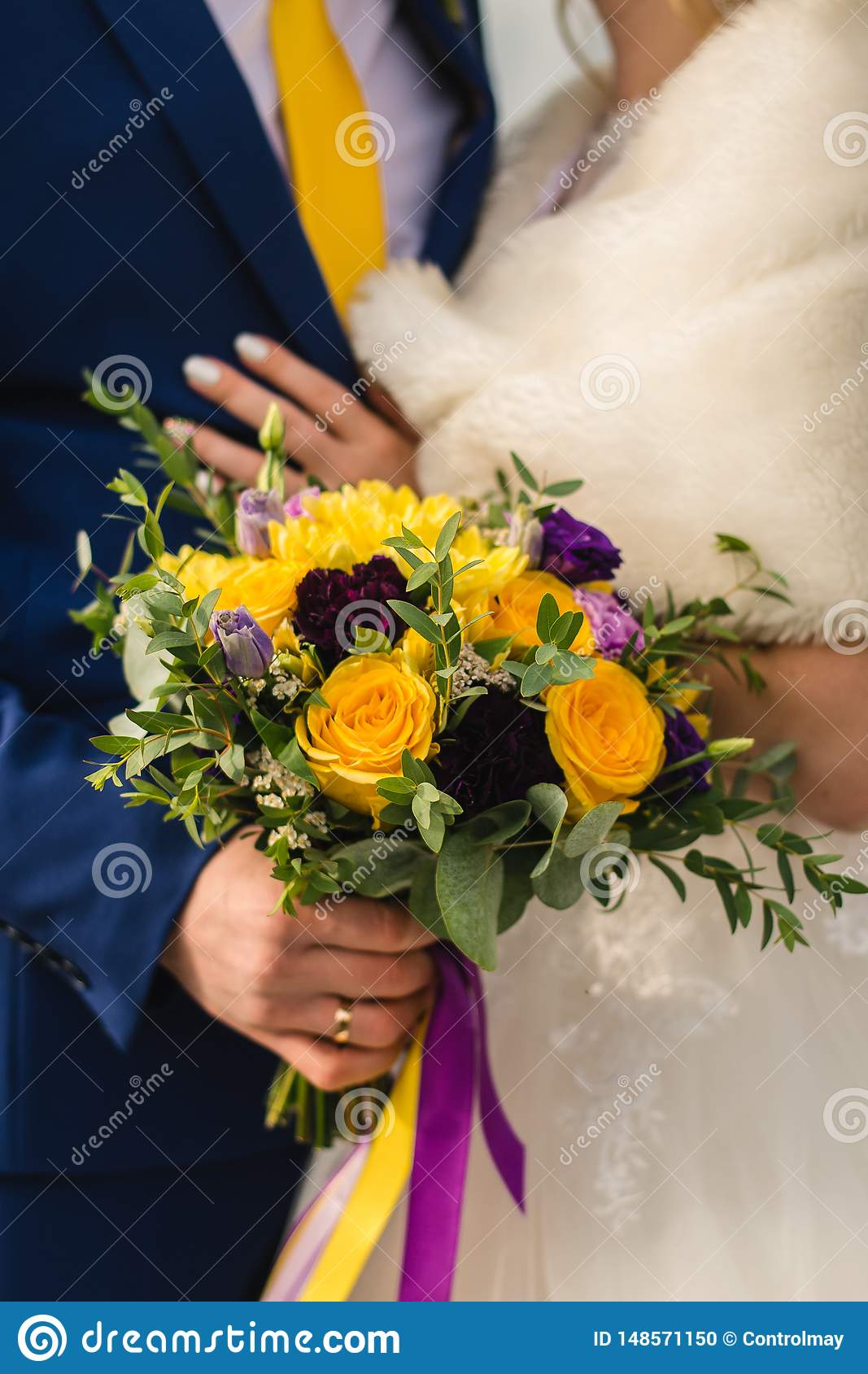 Bridal bouquet on the wedding day.