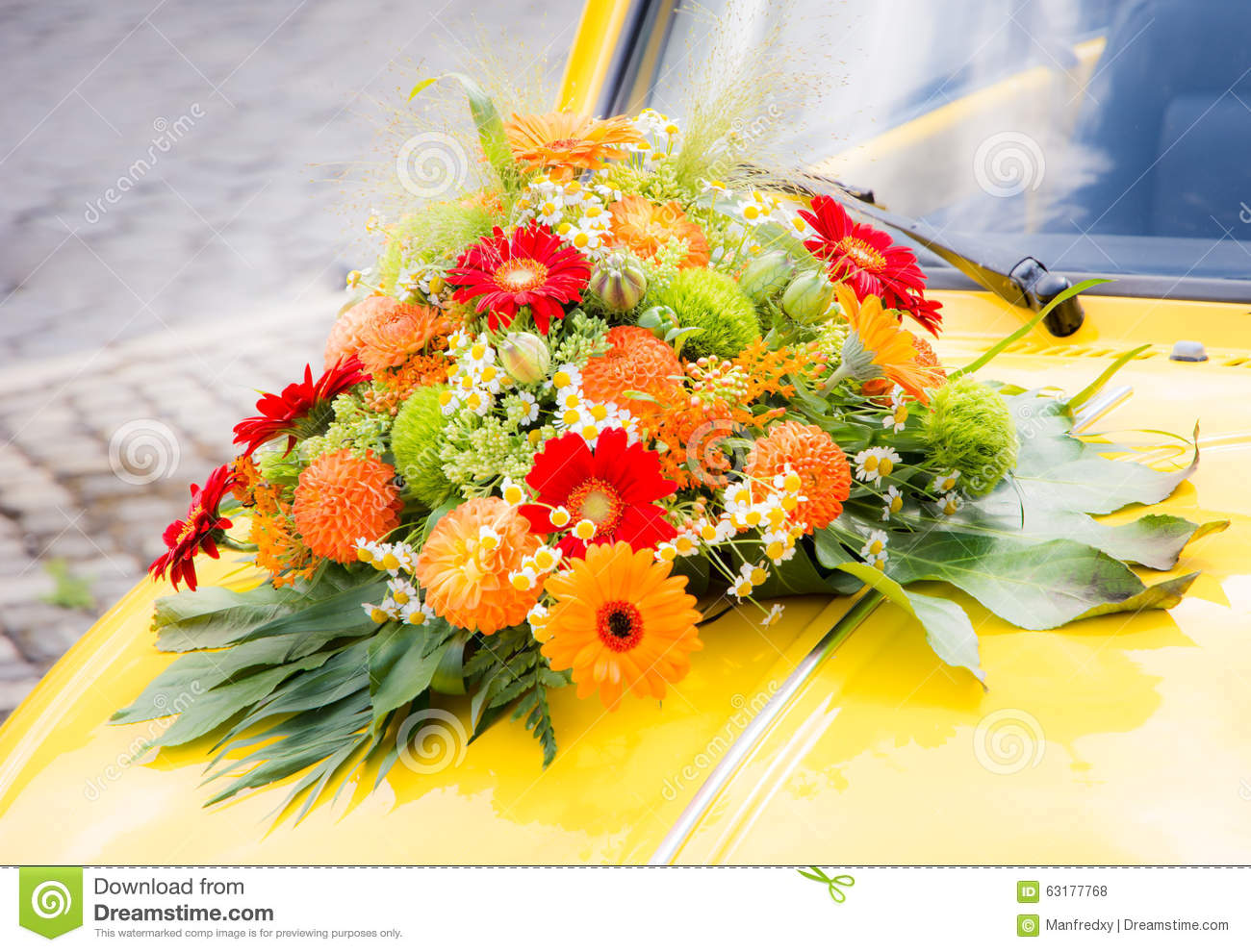 Bridal Bouquet On A Yellow Wedding Car Stock Photo Image Of