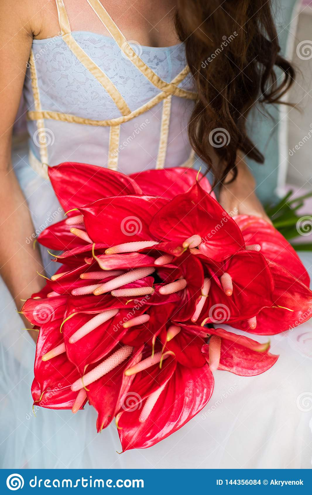 Bridal bukiet z czerwonymi anthuriums