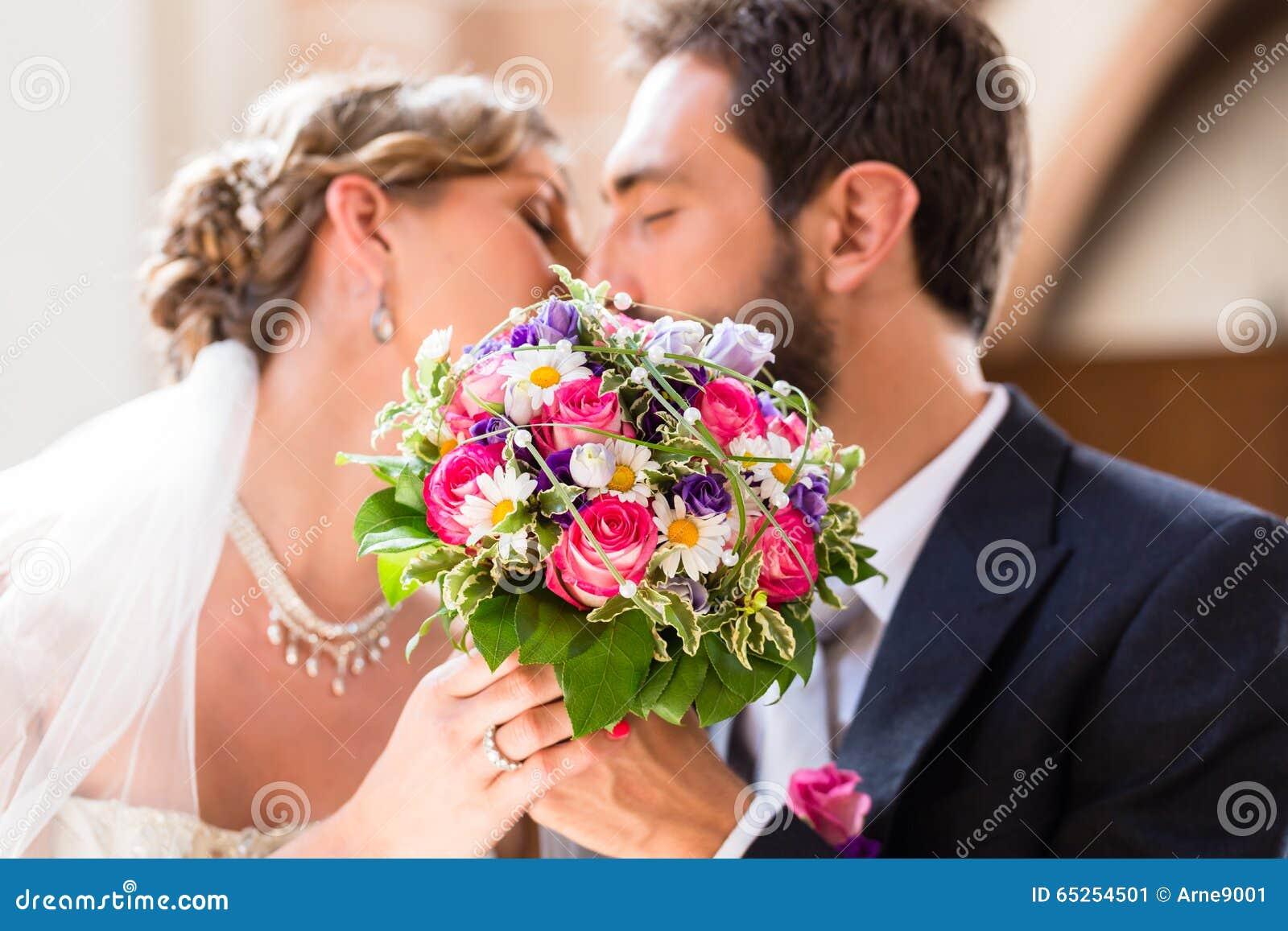 wedding couple and kiss stock photo - image: 42019495