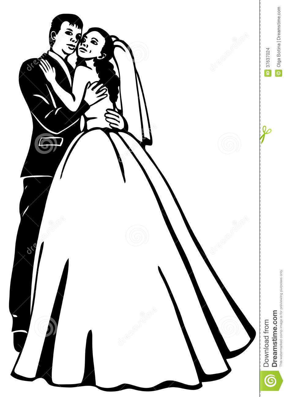 Line Drawing Wedding Couple : Bridal couple stock vector illustration of registry
