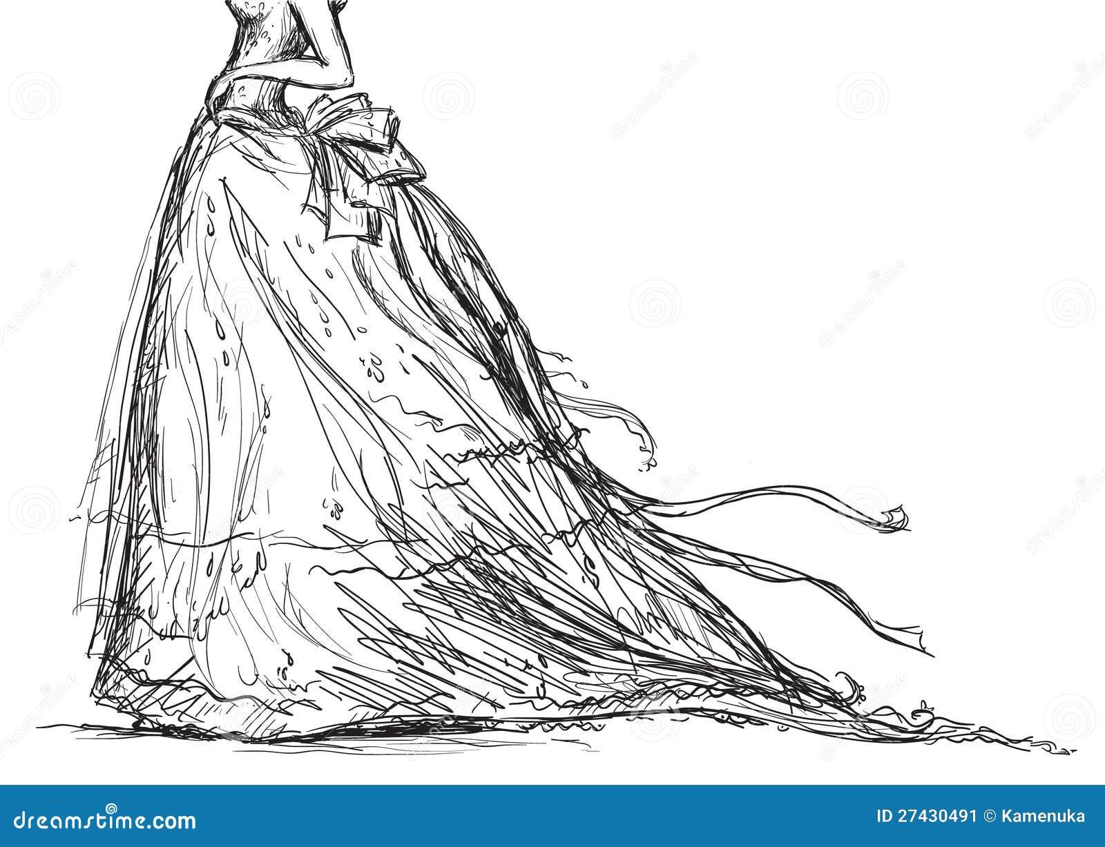 Bridal Dress Drawing Stock Vector. Illustration Of Retro