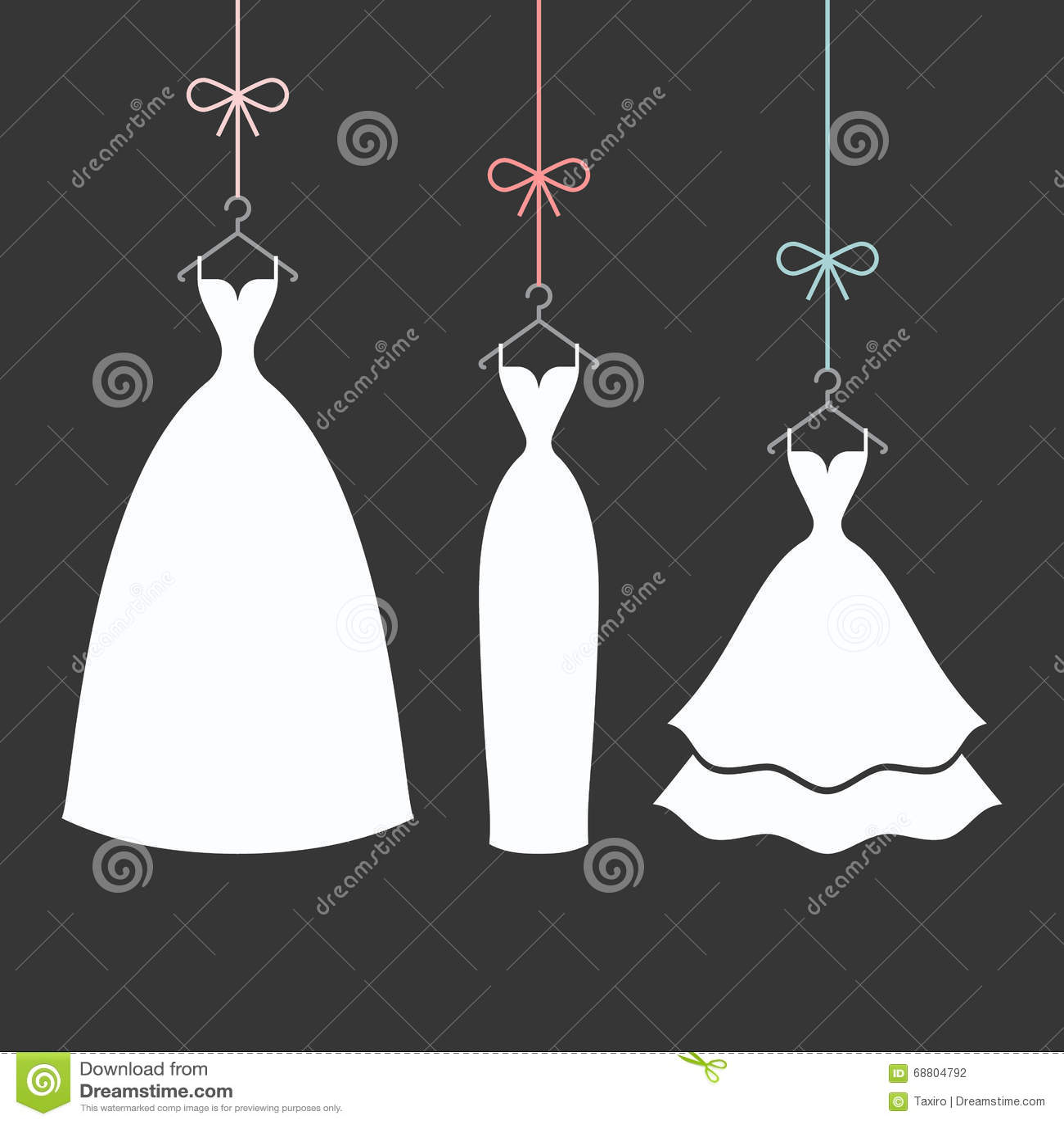 Bridal dress on a hanger stock vector. Illustration of dance - 68804792