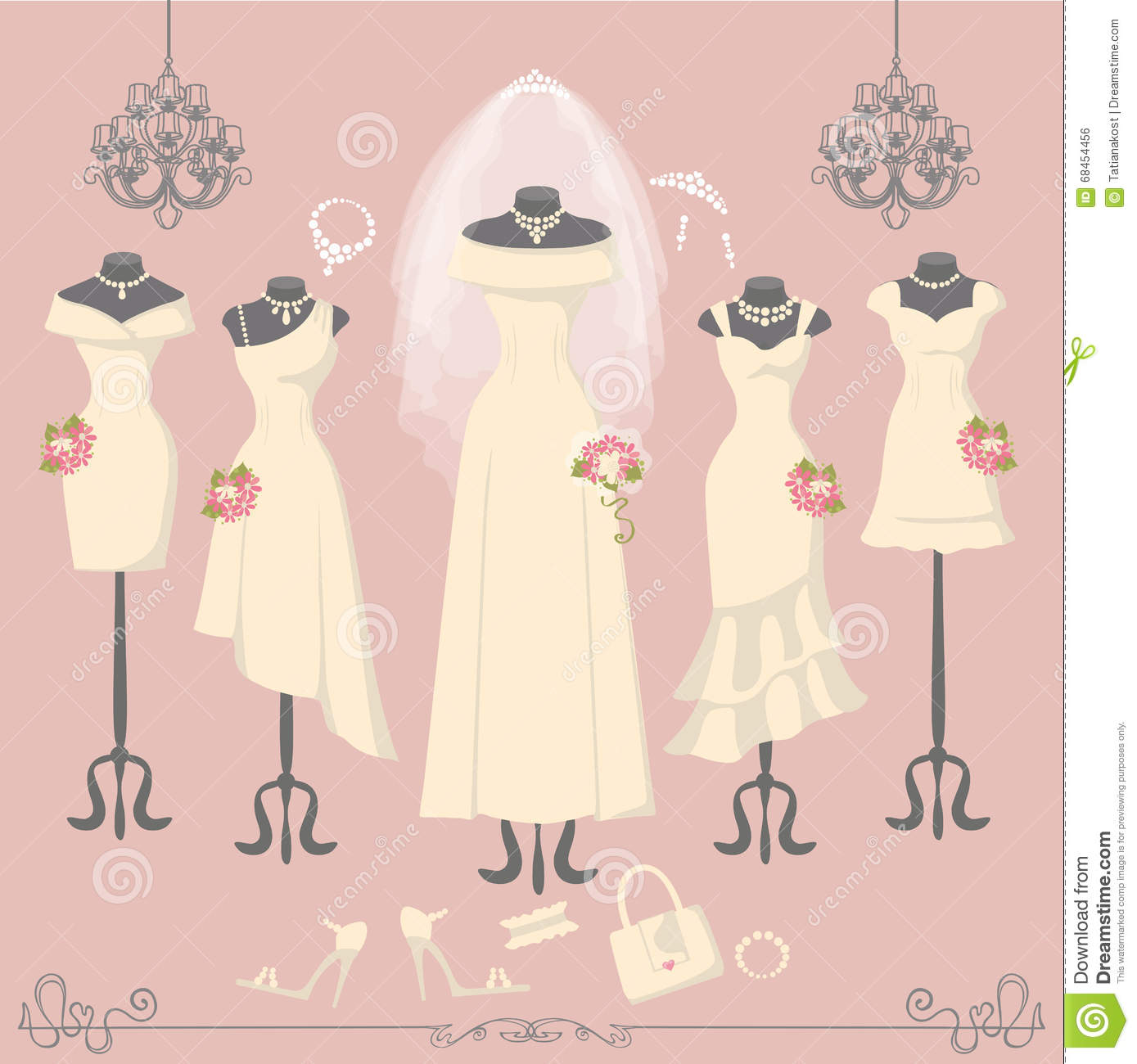 Bridal Dresses On Mannequin Fashion Background Stock Vector