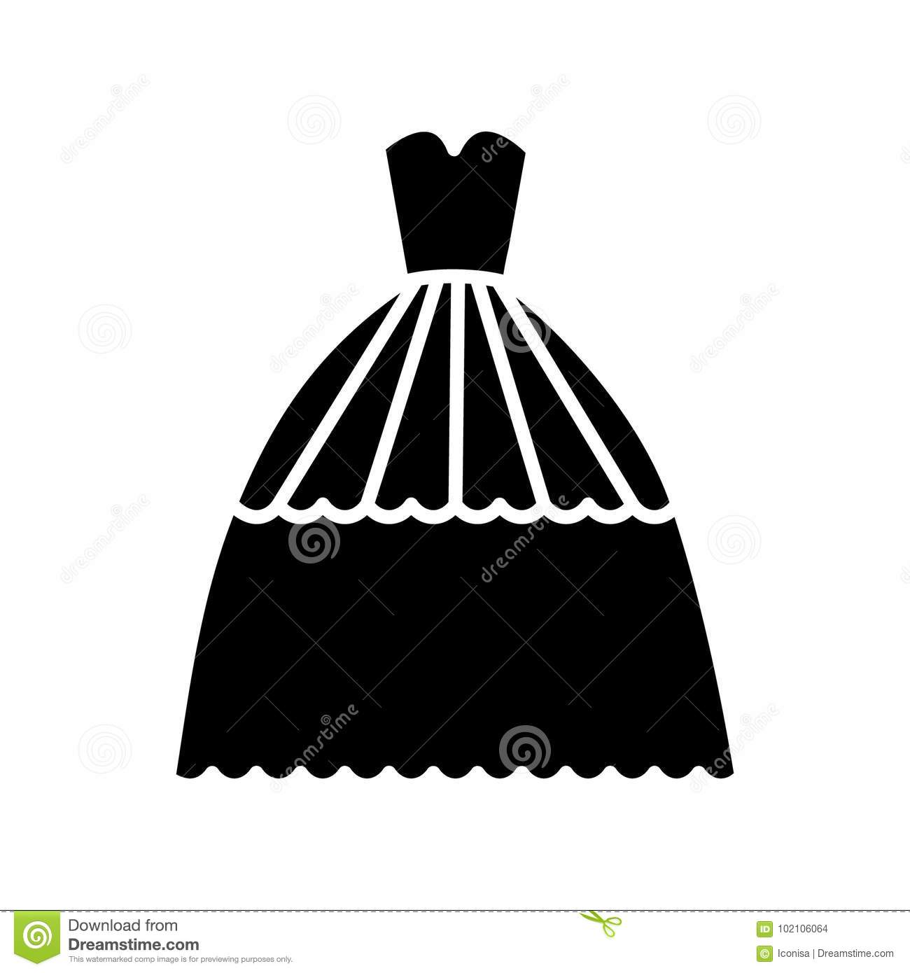 Bridal evening dress icon, vector illustration, sign on isolated background