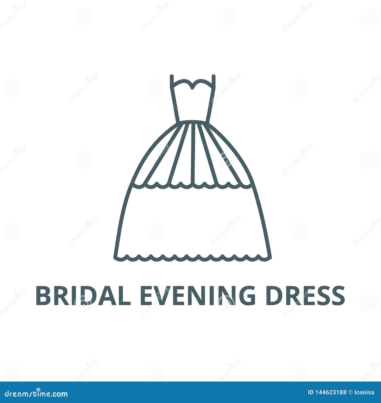 Bridal evening dress line icon, vector. Bridal evening dress outline sign, concept symbol, flat illustration