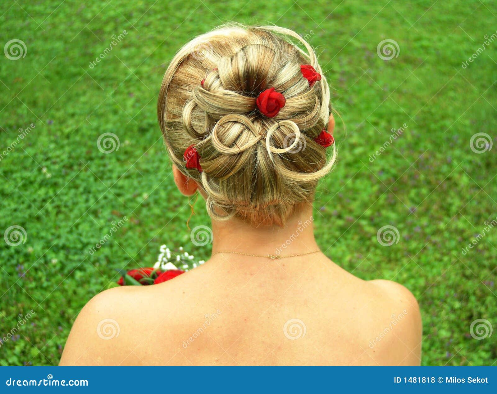 bridal hair style stock photo. image of female, flower - 1481818