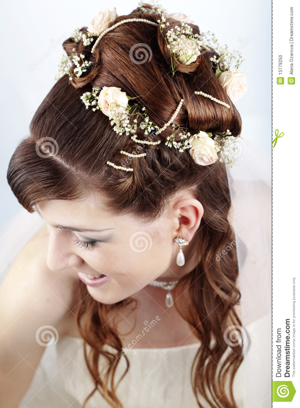 bridal hairstyle stock photo. image of style, roses, pretty - 13779250