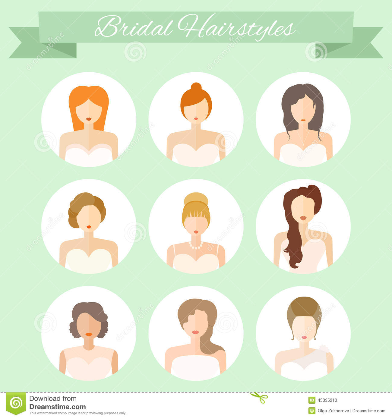 Bridal Hairstyle Stock Vector Image 45335210
