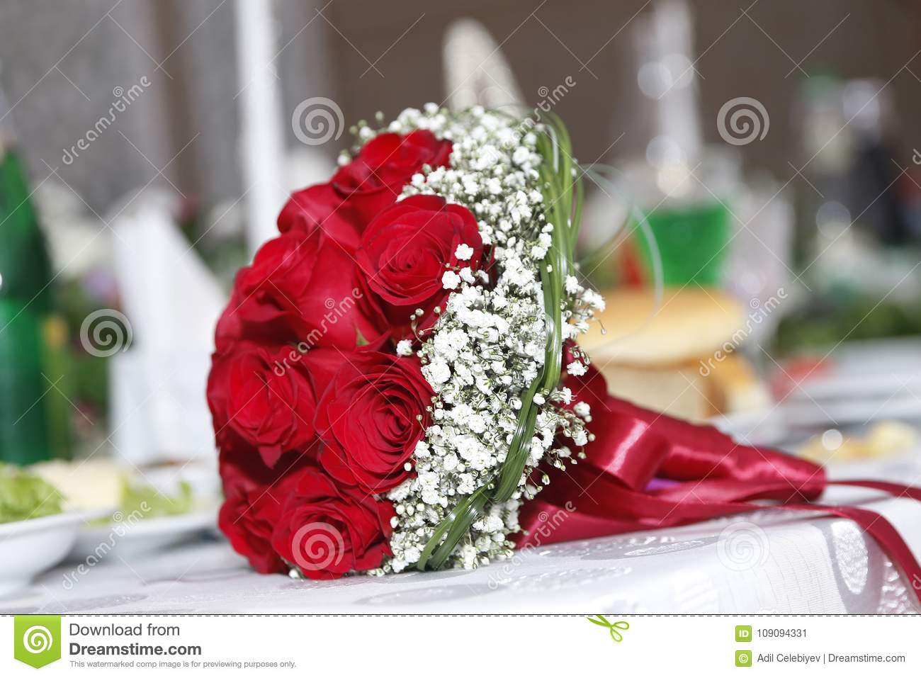 Red Rose Wedding Bouqet.Bridal Red Wedding Bouquet Valentines Day Concept A