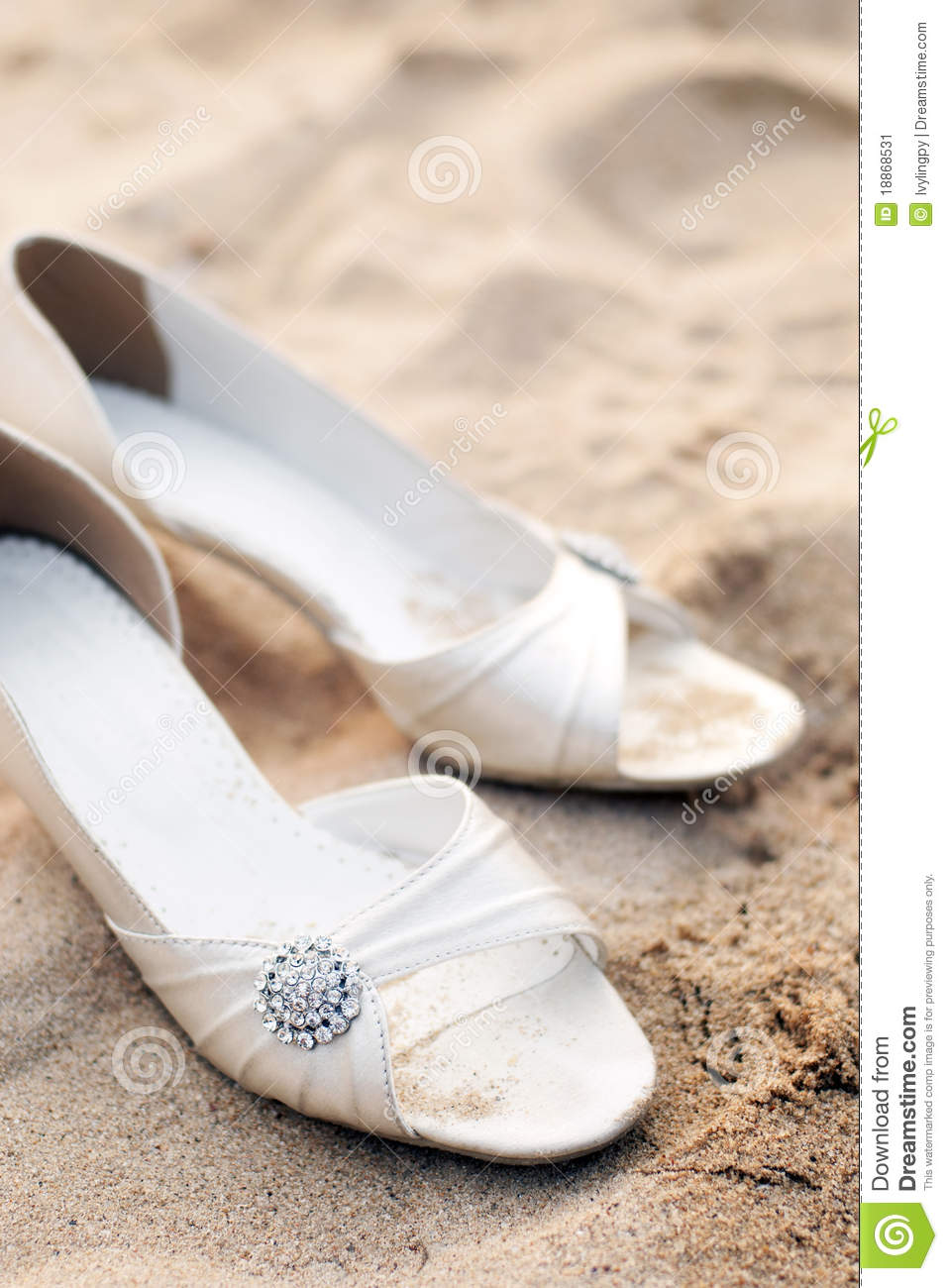 Bridal Shoes On Beach Wedding Party Stock Image