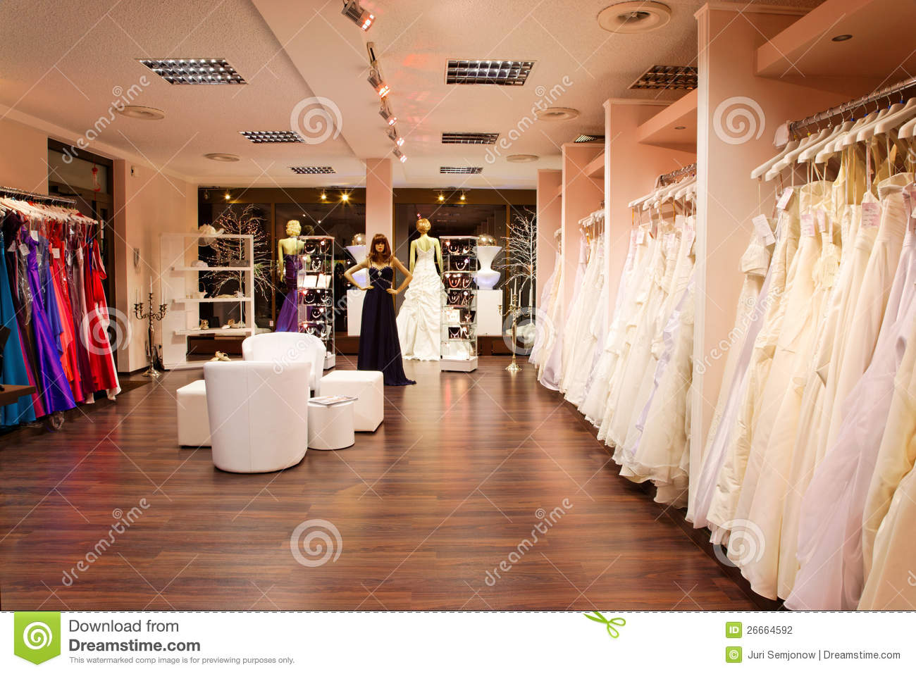 The bridal shop. stock photo. Image of hall, dummy, people - 26664592