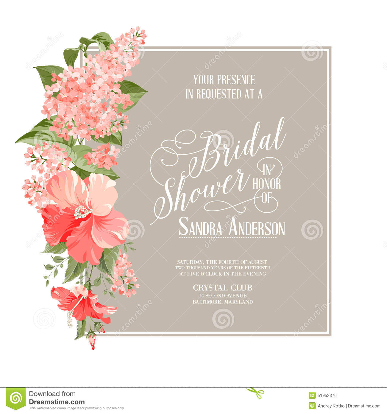 Bridal Shower Card Stock Vector Image 51952370