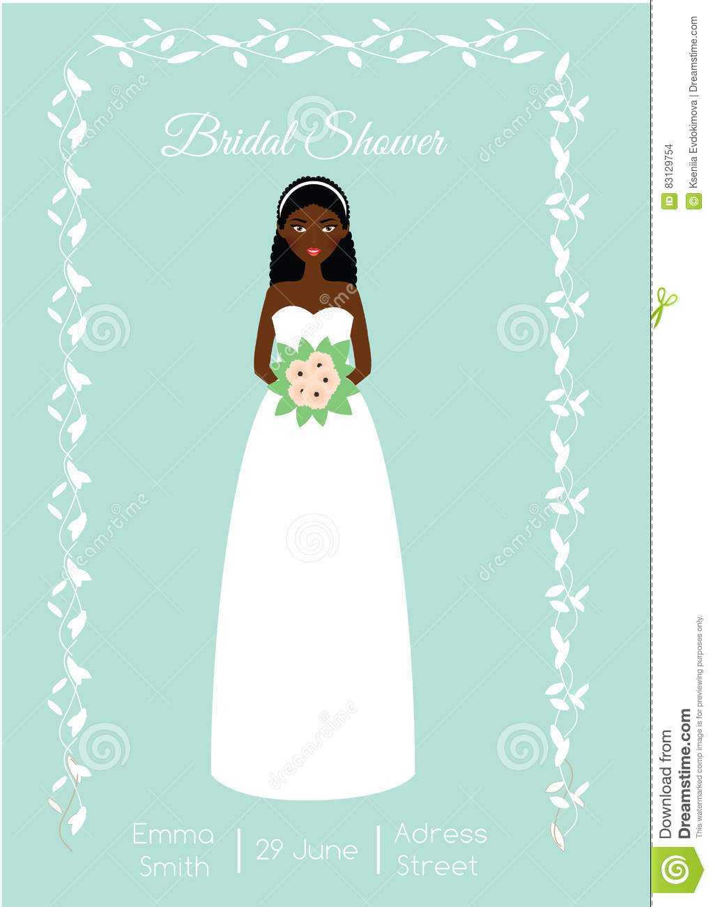 Bridal Shower Card With Smiling Happy Bride. African American Woman ...