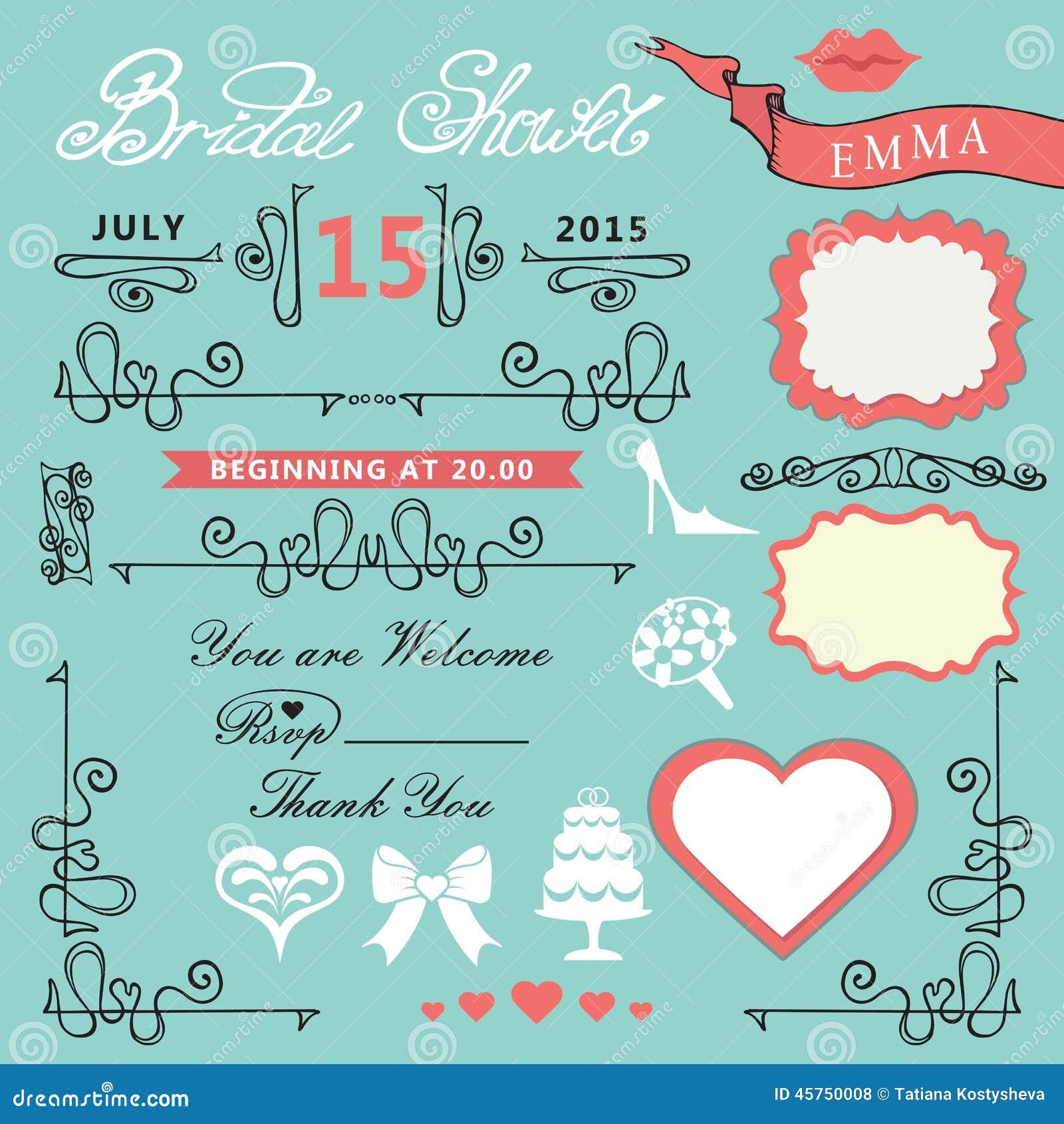 bridal shower design elements set