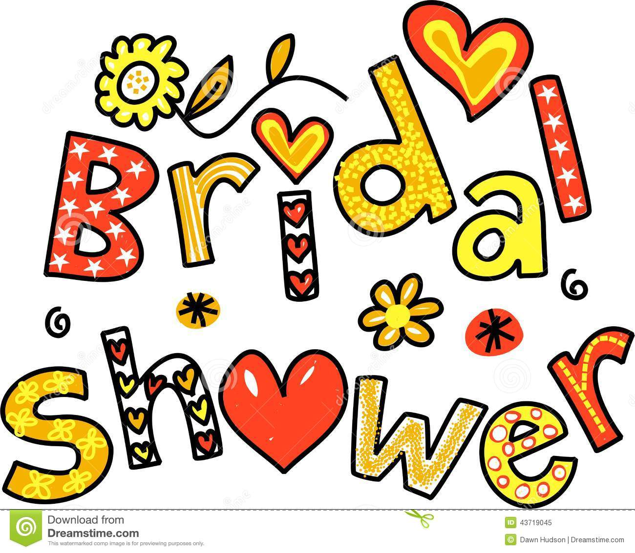 hand drawn and coloured whimsical cartoon text that reads bridal shower
