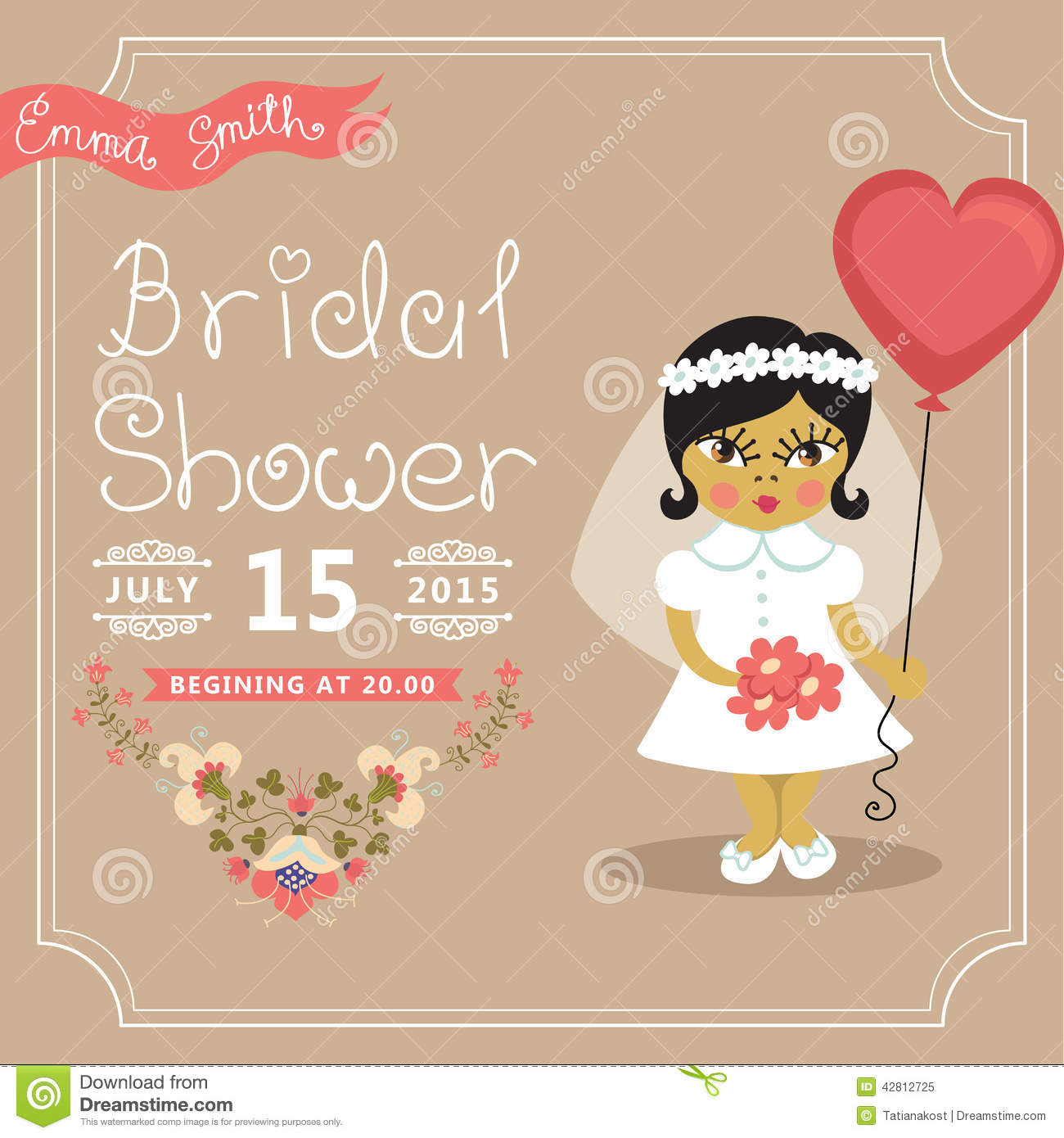 ... in a balloon.Retro wedding invitation.Fashion vector Illustration