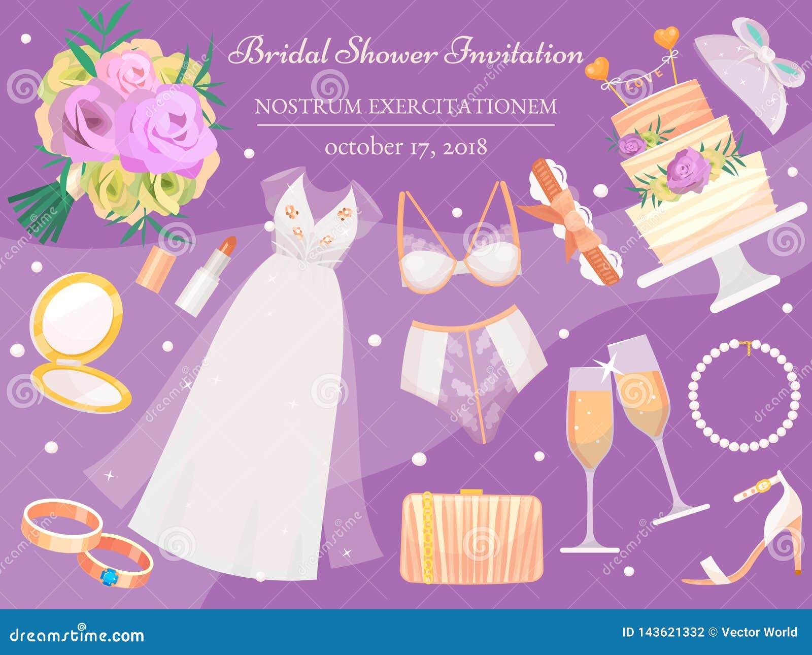 Bridal Shower Invitation Banner Vector Illustration Wedding