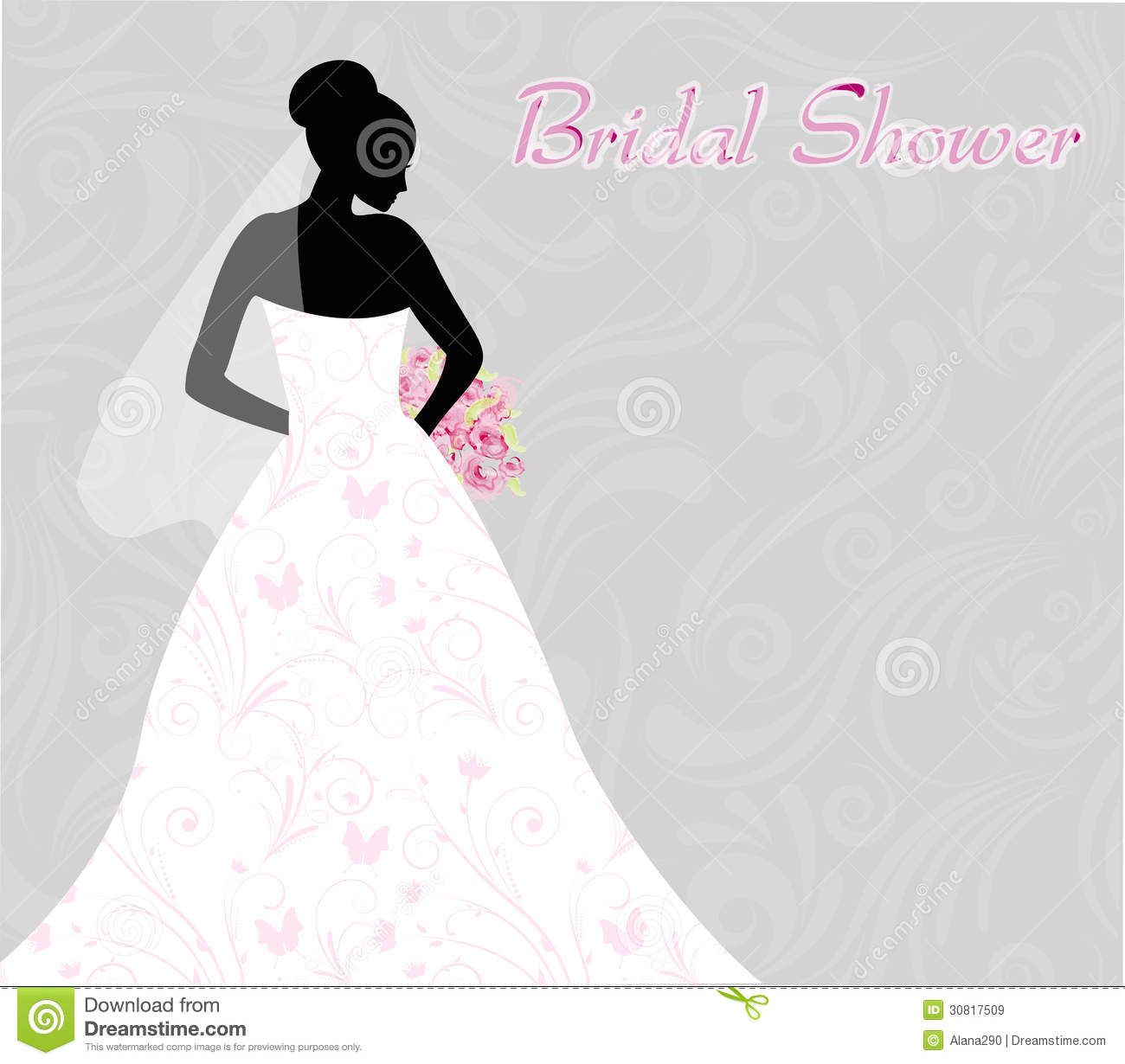 bridal shower invitation with brides silhouette on swirls light background royalty free illustration