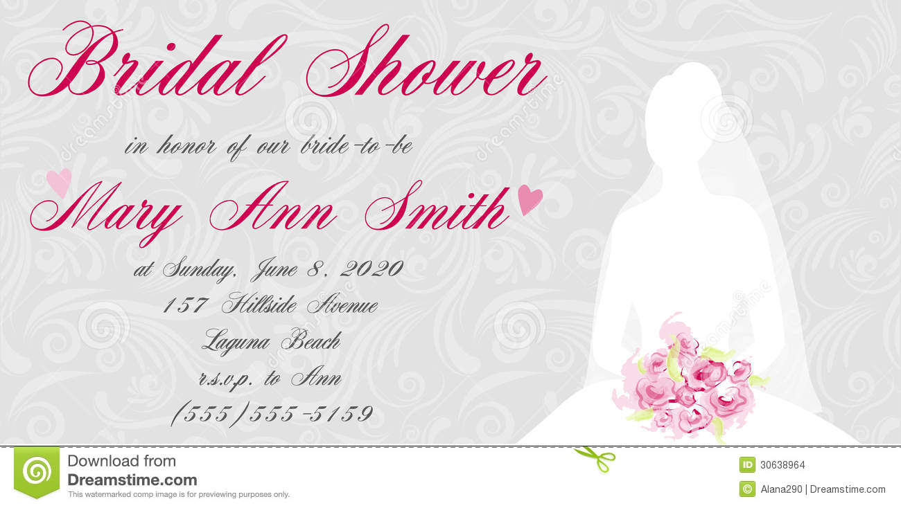 Bridal shower invitation with brides silhouette on swirls light ...