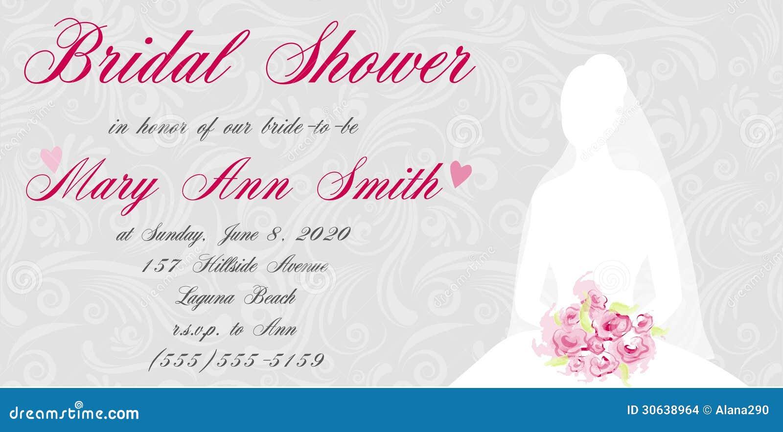 Bridal shower invitation with brides silhouette on swirls light ...
