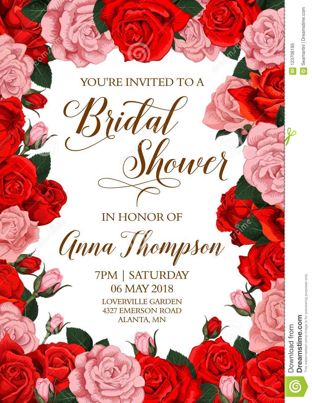 Bridal Shower Invitation Card With Flower Frame Stock Vector ...