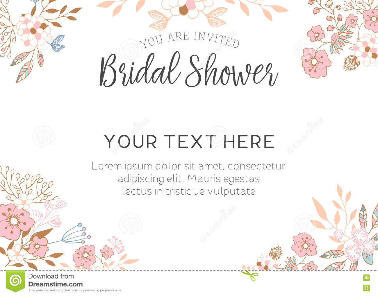 Bridal Shower Template Bridal Shower Invitation Stock Illustrationillustration Of .