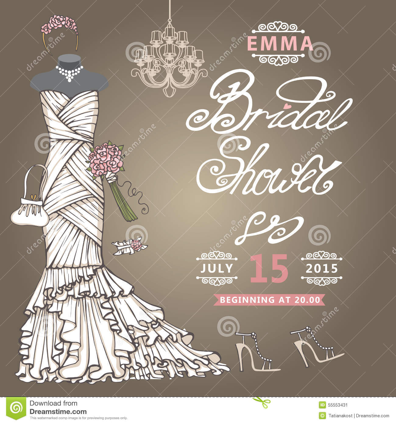 bridal shower invitationcute wedding dress