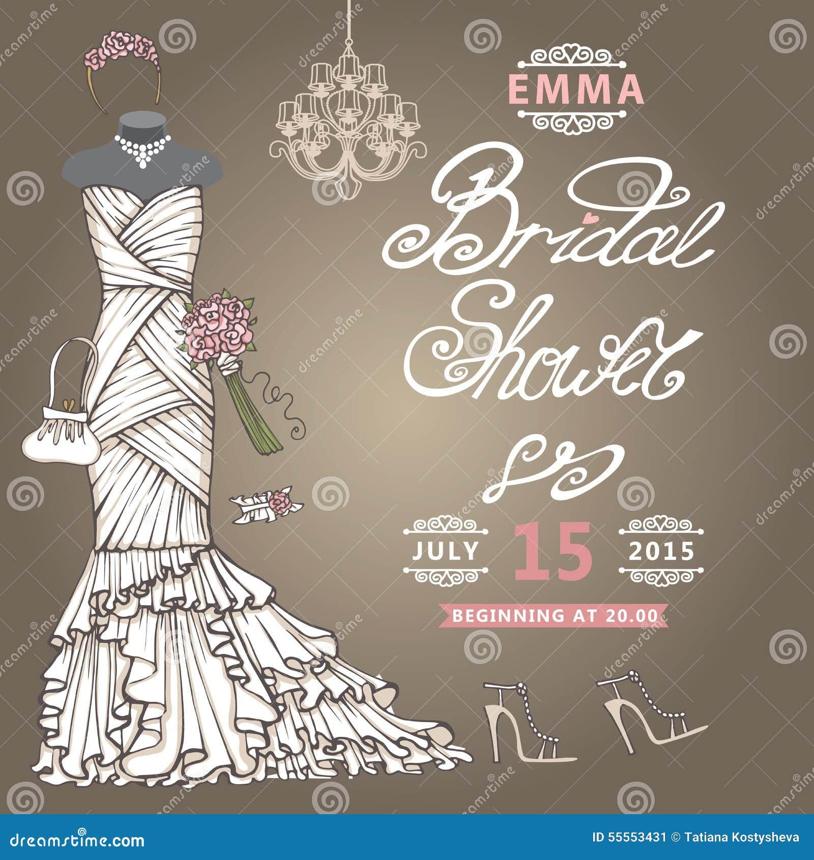 bridal shower invitationcute wedding dress