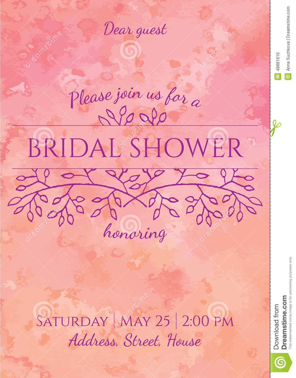Bridal shower invitation - gentle watercolor background with hand ...