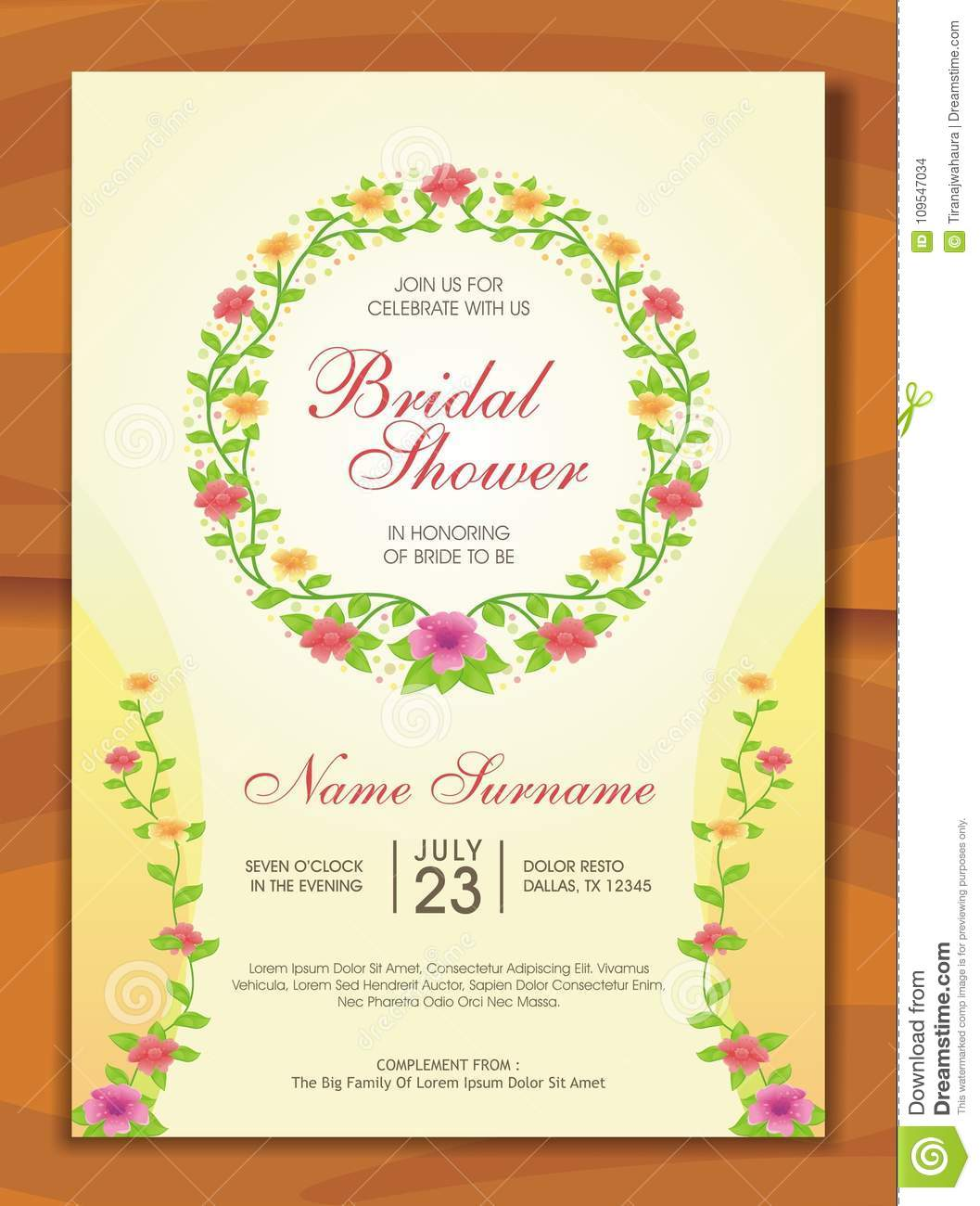 bridal shower invitation with lovely design