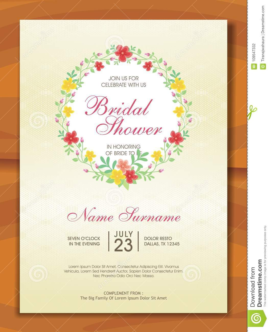 Bridal Shower Invitation With Lovely Design Stock Vector ...