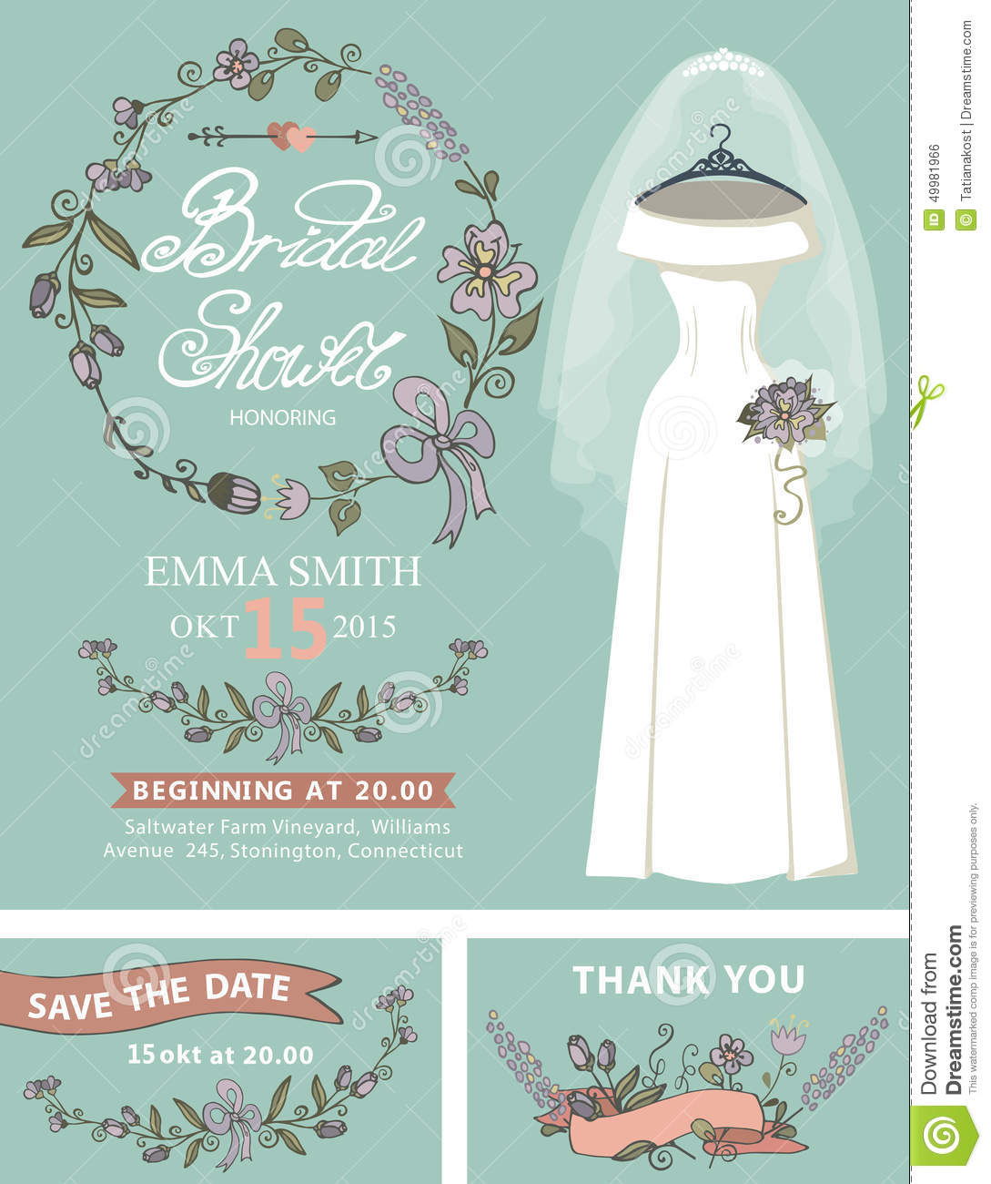 bridal shower invitation setwedding dressfloral