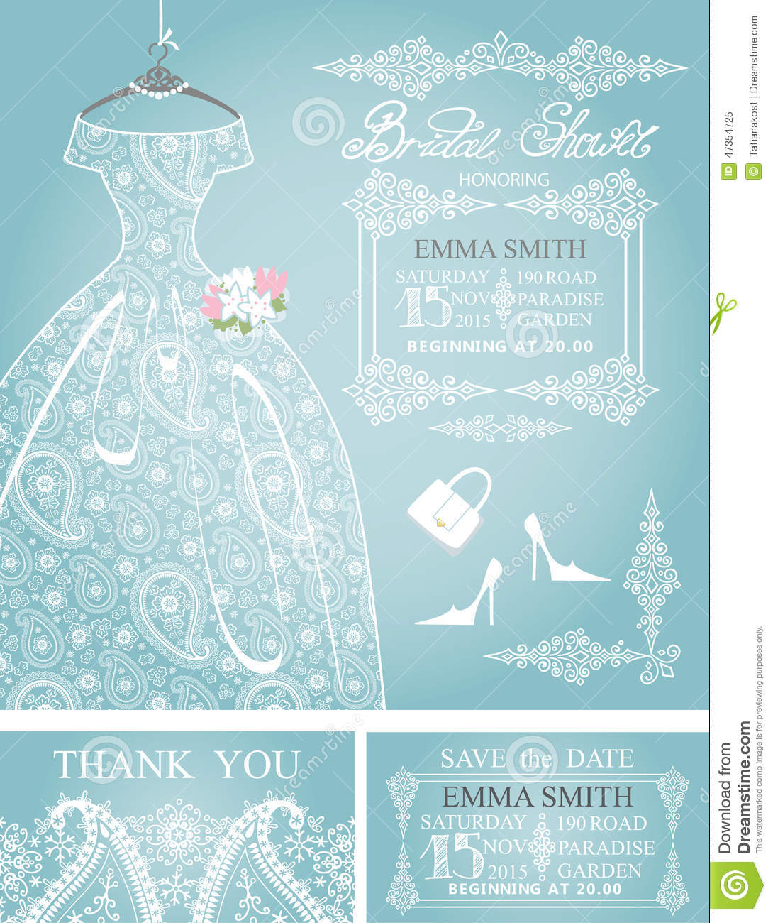 bridal shower invitation set wedding paisley lace