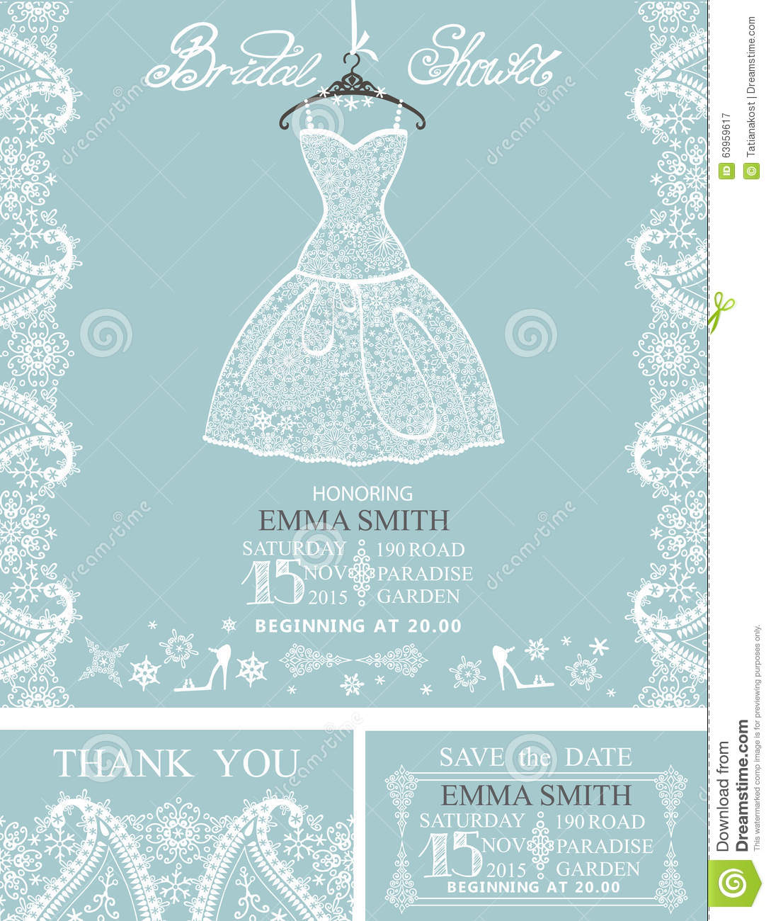 Bridal Shower Invitation Setwinterwedding Lace Stock Vector