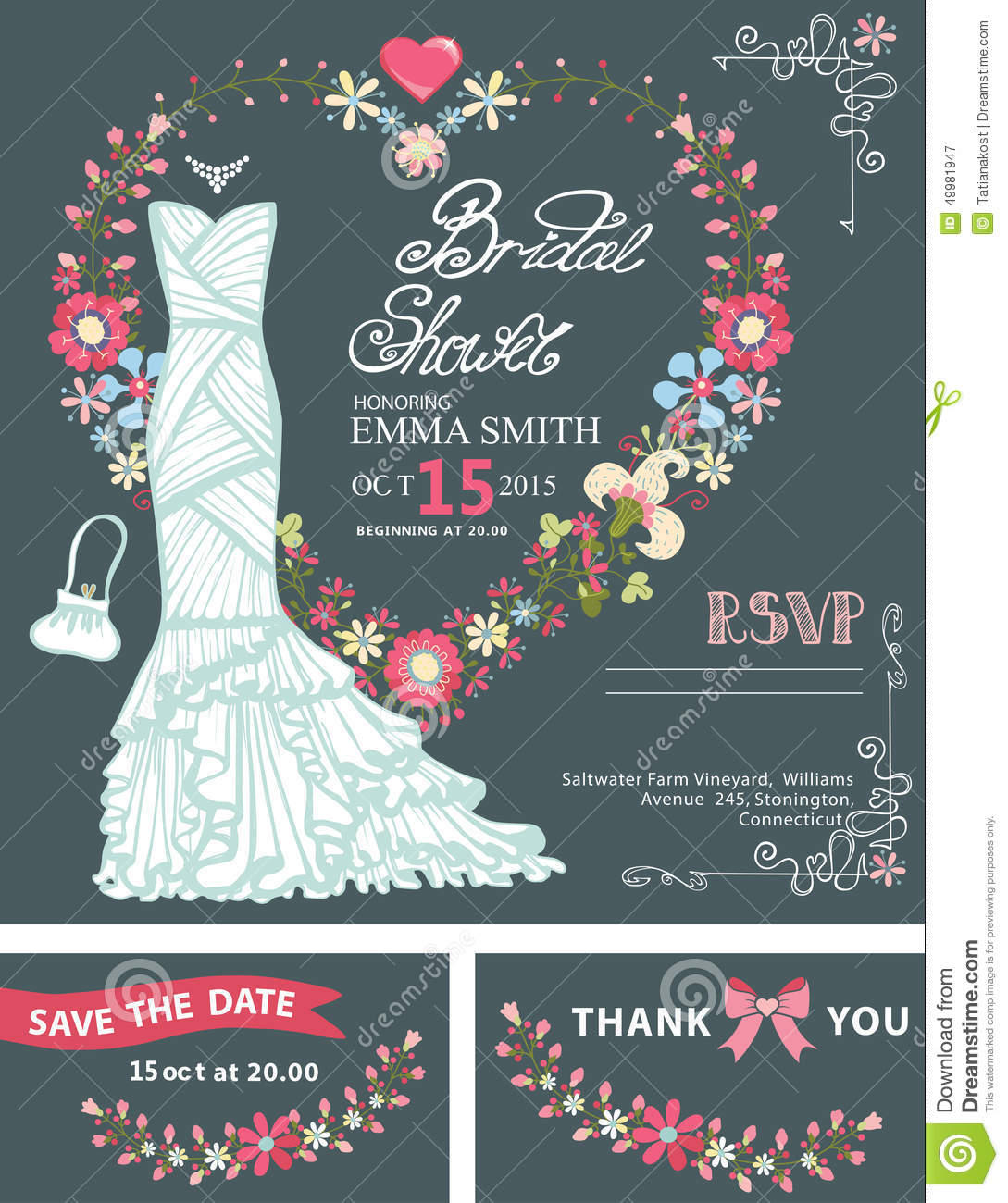 Bridal Shower Invitation Template.Bridal Dress Stock ...