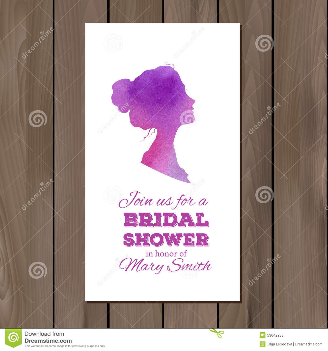 bridal shower invitation with watercolor elements
