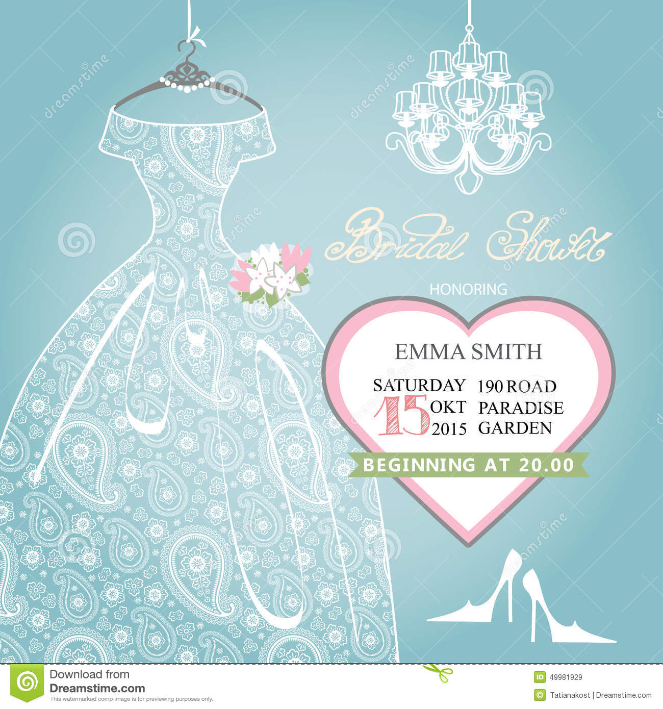 Bridal Shower Invitation Wedding Lace Dress On Stock Vector