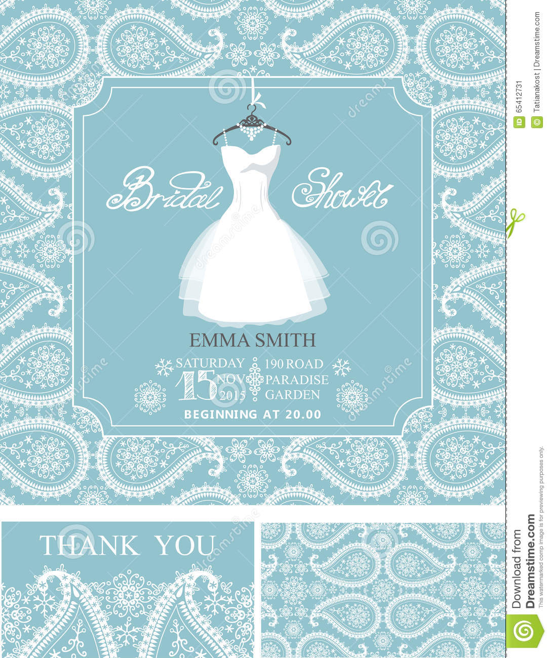 Bridal Shower InvitationsWinter Weddingornament Stock