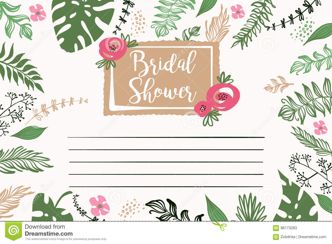 Bridal shower template invitation with text please join us and download bridal shower template invitation with text please join us and floral background stock maxwellsz