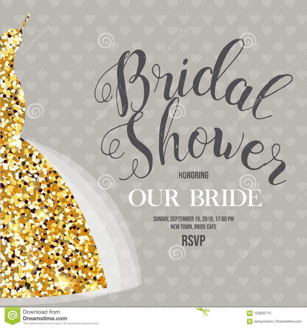 Bridal Shower Invitation With Wedding Dress Stock Vector ...