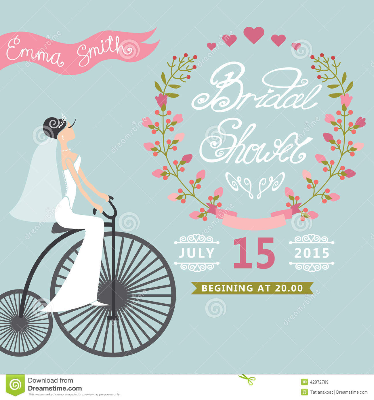 Bridal showerntage wedding invitation with stock image image of bridal shower card with bride on retro bicycle and floral wreathntage wedding invitation vector illustration filmwisefo